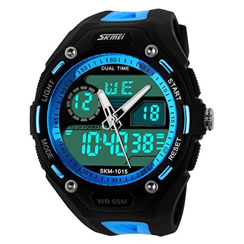 Herren Digital Sport Uhren UNIQUEBELLA Outdoor wasserdichte LED Armbanduhr mit Wecker Chronograph Datumanzeige Silikon Sportuhr für Herren Blau