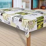 laro Wachstuch-Tischdecke Wachstischdecke Tischwäsche Abwaschbar Meterware Wachstuchdecke G11, Muster:Blumen Weiss-grün, Größe:110x140 cm