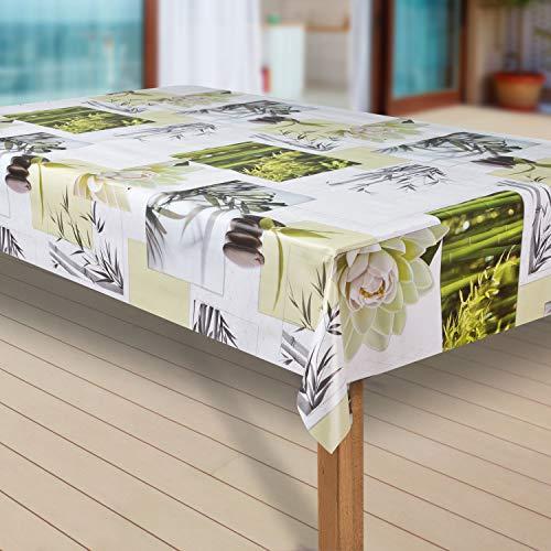 laro Wachstuch-Tischdecke Abwaschbar Garten-Tischdecke Wachstischdecke PVC Plastik-Tischdecken Eckig Meterware Wasserabweisend Abwischbar G11, Muster:Blumen Weiss-grün, Größe:40x40 cm Muster