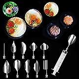 Rokoo 11-teiliges Set 3D-Formen für Gelatine, Gelee-Blumen, Werkzeug aus Edelstahl, für Pudding, Backen, Spritzen, Dekorations-Werkzeug