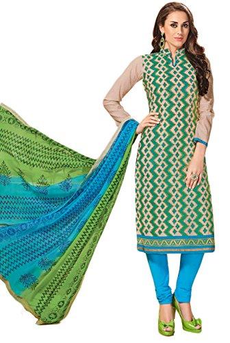 Salwar Suits For Women (Manmandir's Beige CottonSilk Dress Material)