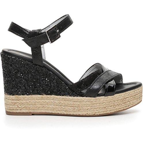 Nero Giardini donna sandali con zeppa nero o platino P717690D scarpe estate 2017 Nero
