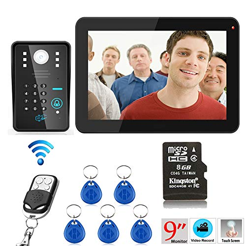 Hardwired Chime Kit (NBKLS Video-Türklingel 9 Zoll 900TVL RFID-Passwort Aufzeichnung Video-Tür-Telefon Intercom Regenschutz Nacht-Vision-Fernbedienung)