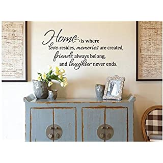 Home Is Where Love Resides Quote Vinyl Wall Decal Sticker Art-decor Living Room
