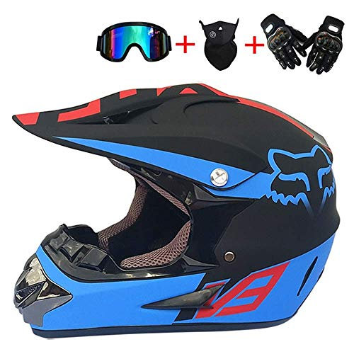 Novopus:Erwachsener Offroad-Motocross-Helm-Set (Brille/Handschuhe/Maske, 4-teilig) Mattschwarz und Blau, Kinder Integralhelm Motorrad Crash MTB-Helme ATV für Jugendliche Männer Frauen Kind: S