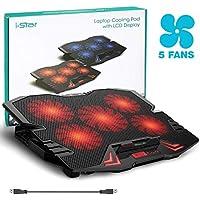 """Base de Refrigeración para Ordenador Portátil de 12 hasta 15,6"""" Para Gaming u Oficina con 2 Puertos USB, 5 Ventiladores Ajustables 2500RPM, Luces Led y Pantalla LCD (Rojo)"""