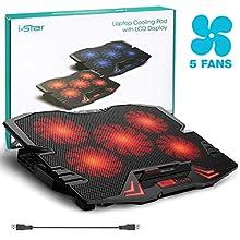 i-Star Refroidisseur Pour Ordinateur Portable Notebook, Laptop Cooler avec 5 Ventilateurs, Hauteur Réglable , 2 USB, Affichage LCD - Rouge