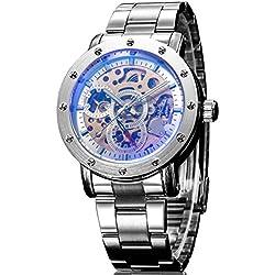 Alienwork IK Automatic Watch Self-winding Skeleton Mechanical Metal white silver 98530G-04
