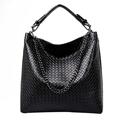 Frauen-PU-Leder Koreanische Modedesigner Handtasche Schultertasche Black