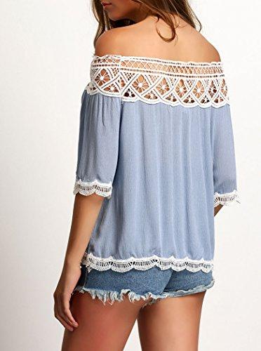 Damen Sommer-Kurzarmshirts off Shoulder Einfarbig mit Spitze T-Shirt Frauen Tops Shirts Weiß Schwarz Blau Blau