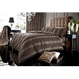 NATURAL BROWN LEOPARD PRINT DOUBLE DUVET COVER BED SET - INCLUDES QUILT COVER & PILLOW CASES