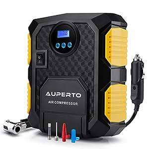 Luftkompressor, AUPERTO 10 Bar/150 PSI,12V Tragbar Reifen Aufblasgerät Zigarettenstecker für Reifen und Kugeln.mit Taschenlampe