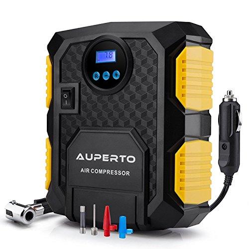 Preisvergleich Produktbild Luftkompressor, AUPERTO 10 Bar/150 PSI,12V Tragbar Reifen Aufblasgerät Zigarettenstecker für Reifen und Kugeln.mit Taschenlampe