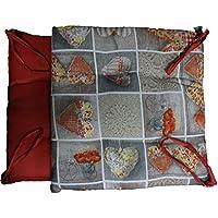 russo tessuti 6 cuscini sedie cucina coprisedia imbottiti cuore allungato laccetti vari colori arancione