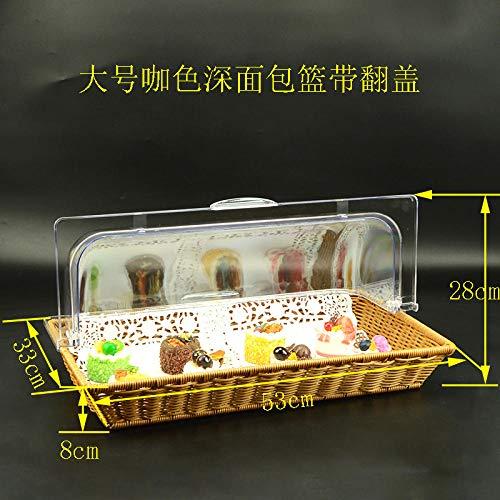 PORCN Cake Tray_Hot Sale Rattan Brotkorb mit Deckel Food Display European Rectangular @E (Display Food Hot)