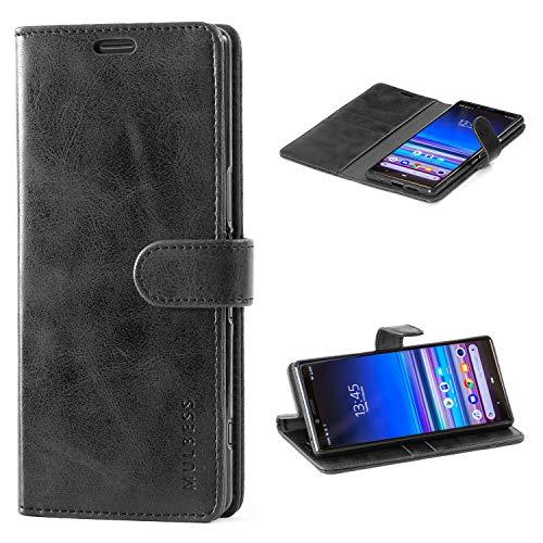 Mulbess Handyhülle für Sony Xperia 1 Hülle, Leder Flip Case Schutzhülle für Sony Xperia 1 Tasche, Schwarz