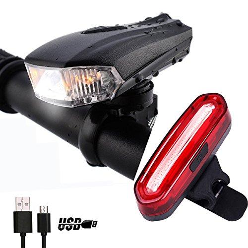 Fahrrad Lampensets, NewZexi USB Wiederaufladbare LED Fahrradlicht Scheinwerfer Rücklicht Kombinationen Intelligente Induktion Fahrrad Frontleuchte Taschenlampen Wasserdicht Mehrere Modi Fahrrad Frontlichter und Rücklicht