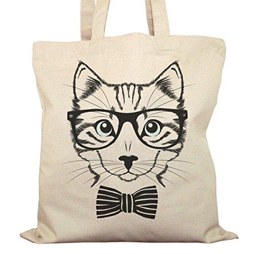 Tote Bag Imprimé Ecru - Toile en coton bio - Chat à lunettes noires