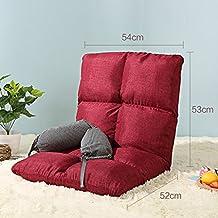 wysm Sofá perezoso lino grueso solo 54 * 105 * 13cm dormitorio plegable silla de la espalda de la computadora del dormitorio de la cama ( Color : Rojo )