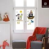 Fenstersticker Kinderzimmer - Pirat Insel und Piratenschiff - Trägerfolie 25 x 70 cm - 28-teilig, ergibt Motivgröße etwa 70 x 70 cm