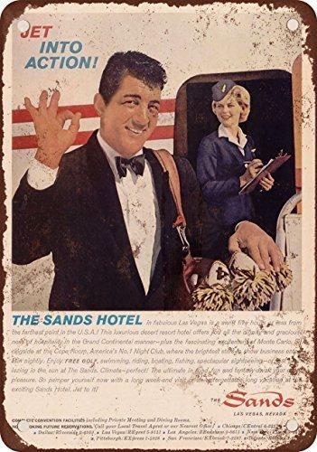 1962Dean Martin per la sabbia Hotel Las Vegas look vintage Riproduzione in metallo Tin Sign 20,3x 30,5cm
