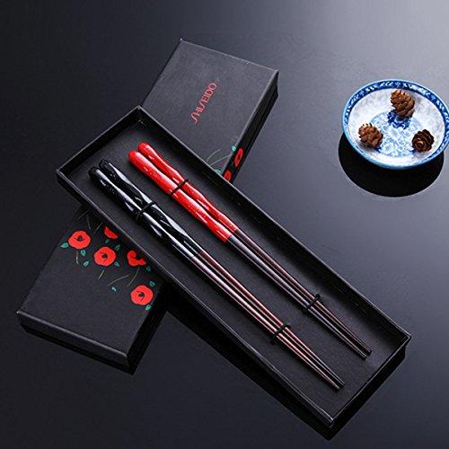 2 Paar Set Essstäbchen Japanische Natur Chopsticks aus umweltfreundlichem hölzernen in edler Schatulle Geschenkbox (Schwarz und Rot)
