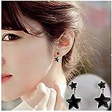SwirlColor A pares de pendientes cristal negro coreano estrella doble del oído por muchachas de las mujeres
