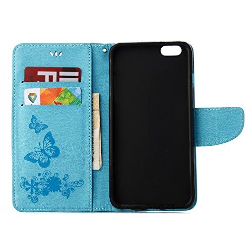 Cover per iPhone 6 Plus,per iPhone 6S Plus Custodia, ZCRO Portafoglio Cover in Cuoio PU Pelle Stand Protettiva Flip Case a Libro Farfalle Fiori Modello con Magnetica Strap e Penna Stilo Copertina Cust Design 2 Blu