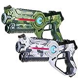 Light Battle 2 Laserpistolen für Kinder: 2X Active lasertag Pistole (1x Camo grün + 1x Camo weiß) | LBAP10257