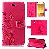 betterfon | Flower Case Handytasche Schutzhülle Blumen Klapptasche Handyhülle Handy Schale für Samsung Galaxy J5 2017 DUOS Pink