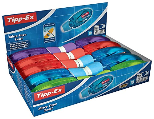 Tipp-Ex Korrekturroller Micro Tape Twist mit drehbarer Schutzkappe - Korrekturmäuse 4-fach sortiert: blau, rot, lila und grün - 10 Stück à 8m x 5mm -
