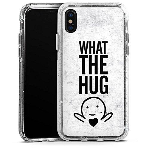Apple iPhone 8 Bumper Hülle Bumper Case Glitzer Hülle Amour Love Liebe Bumper Case Glitzer silber