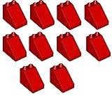 LEGO Duplo - 10 rote grosse Dachsteine Grundbausteine Dachziegel mit 3x2x2 Noppen - 63871