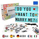 Caja de Luz A4 de Colores con 165 Letras y Emojis, Mando y USB - BONNYCO  Ñ y Ç   Cartel Luminoso...