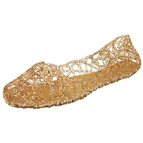 Donalworld Frauen-Sommer-Breathable Jelly Nest Flache Sandalen Regen Schuhe Gold-Asien-Größe 40