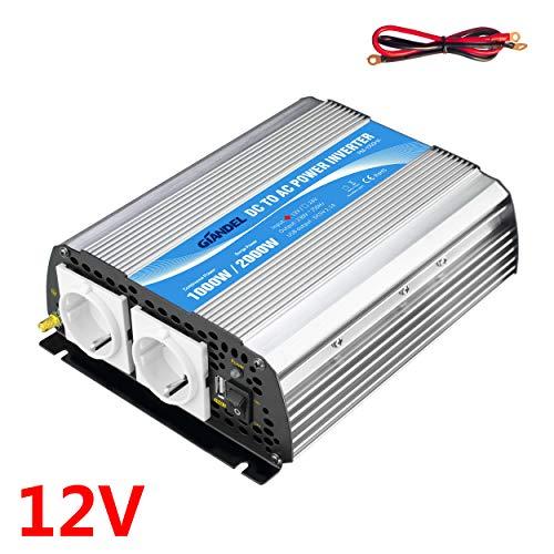 1000W Wechselrichter Spannungswandler 12V auf 230V Power Inverter,mit EU-Steckdosen & 2.4A USB-Anschluss for RV Auto Hausgebrauch Auto Giandel