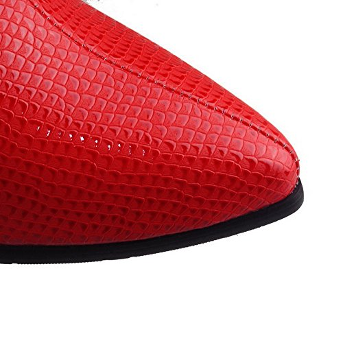 VogueZone009 Donna Bassa Altezza Puro Cerniera Scarpe A Punta Tacco Alto Stivali Rosso