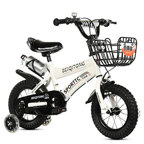 LI HAO SHOP Niños Bicicleta Cochecito de bebé niños Bicicleta de montaña (Flash Rueda + versión Canasta de Hierro) (Color : Blanco, Size : 16 in)