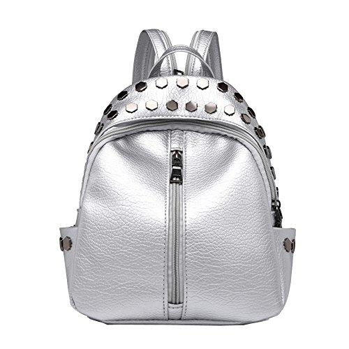 Damen-nieten-satchel (ALIKEEY Vintage Damen Nieten Leder Rucksack Satchel Travel School Rucksack Tasche)