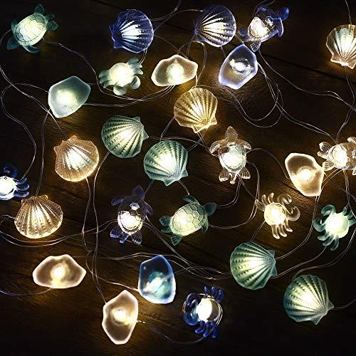 Led Lichterkette mit Batterie Maritime Deko Maritim Muscheln Fischernetz Kinderzimmer Schlafzimmer Kamin Tisch Badezimmer Deko Hochzeit Meerjungfrau Party Weihnachten Weihnachtsbaum Weihnachtsdeko