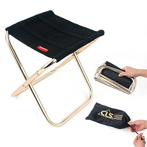 EVIICC Mini Portable Chaises Pliante avec Sac de Transport pour Camping Randonnée Pédestre Plage Pique-Nique Pêche/Noir