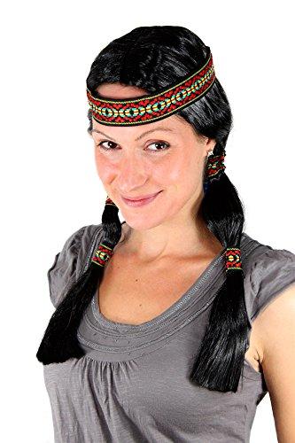 Preisvergleich Produktbild WIG ME UP ® - LM3043-P103 Party Perücke Indianerin, Squaw, schwarz, Zöpfe, mit Stirnband