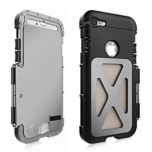 Alienwork Metal Gear Custodia per iPhone 7 antiurto Cover Case Bumper Supporto Acciaio inossidabile argento AP706-02