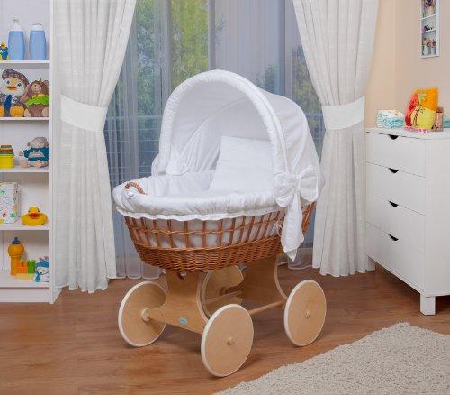 Preisvergleich Produktbild WALDIN Baby Stubenwagen-Set mit Ausstattung,XXL,Bollerwagen,komplett,26 Modelle wählbar,Gestell/Räder natur unbehandelt,Stoffe weiß
