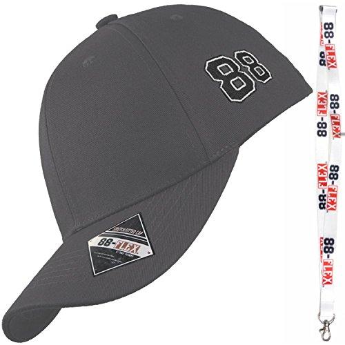 88-FLEX Baseball Cap Fitted Kappe für Herren Damen Mütze Flex Fit Hat Basecap Stretchkappe Stretch Back Mit Stick Logo NY Sport Erwachsene Baumwolle Grey Grau -