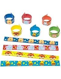 Pulseras Enrollables de Animales de la Jungla Perfectas como Relleno de Piñata Premios para Niños y Regalos de Fiestas Infantiles (Pack de 6)