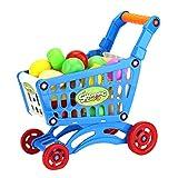 17pcs Mini Trolley Toy Set Plastica Supermercato Carrello Spesa Giocattolo con Frutta Artificiale Verdure E Cibi Pretend Playing Games for Kids Blu