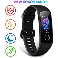 "HONOR Band 5 Fitness Trackers Activity Trackers 0.95"" AMOLED Color Display Smart Watch 50M Depth Waterproof Real-time Heart-rate Monitor Sleep Monitor Bluetooth 4.2, Black"