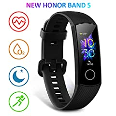 Idea Regalo - HONOR Band 5 Activity Tracker, Uomo Donna Smartwatch Orologio Fitness Cardiofrequenzimetro da Polso Impermeabile Smart Watch 0.95 Pollice Schermo a Colori,Nero