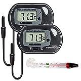 Electrely 2Pack Acquario Termometro Digitale Esterno Sonda per Acquario -50/70°C e 1Pack Vetro Galleggiante Acquario Termometro con Ventosa